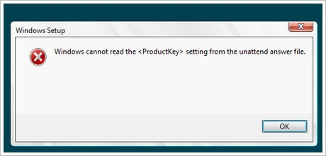 windows cannot read the product key from the unattended answer file