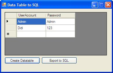 Datatable To SQL